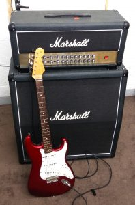 The Marshall stack and Fender Strat in my music studio